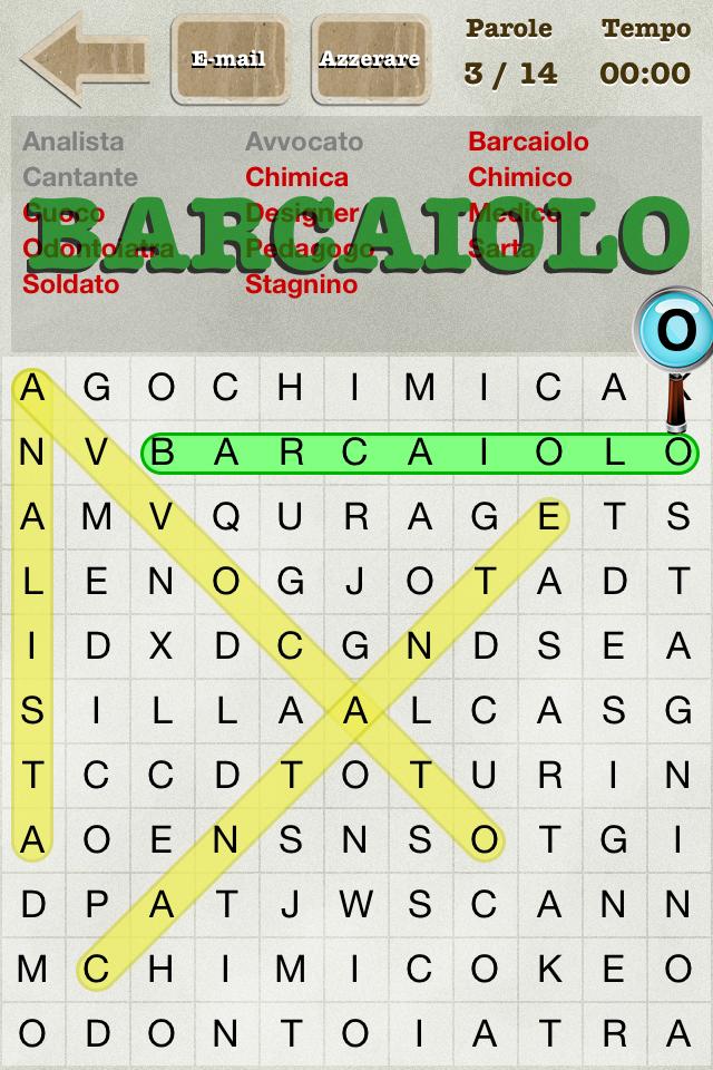 Screenshot Parole Intrecciate (Italian Word Search)
